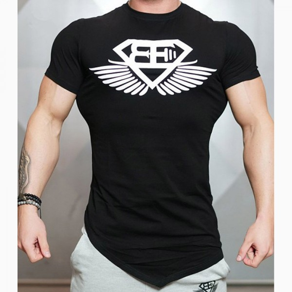 2018 New Design Male Novelty Men T shirt Fashion Bodybuilding Body Engineers Irregular Hem Short Sleeve T Shirt Tops Extra Image 5