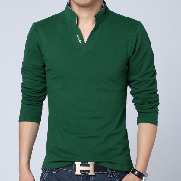 2018 New Fashion Brand Men Clothes Solid Color Long Sleeve Slim Fit T Shirt Men Cotton T Shirt men Casual T Shirts Extra Image 3