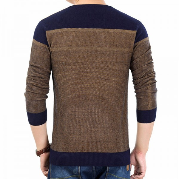2018 New Long Tees Sweater Shirt Men V Neck Pullover Men Fashion Patchwork Pull Spring Autumn Spring Dress Extra Image 2