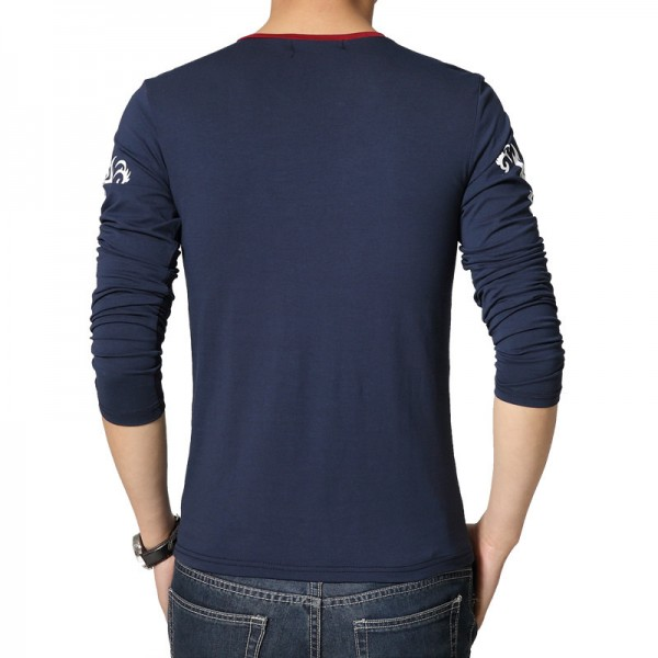 2018 New Men Cotton T Shirt With V Neck Long Sleeved Slim Fit High Quality Printed Big Size Tees For Men Extra Image 1