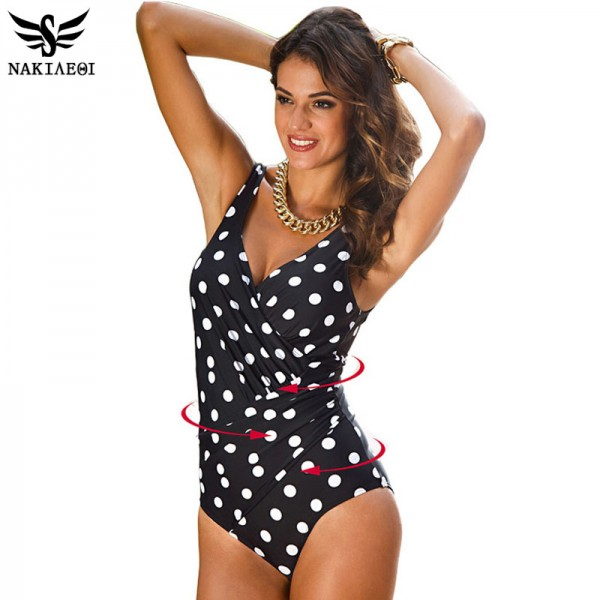 2018 New One Piece Swimsuit Women Plus Size Swimwear Retro Vintage Bathing Suits Beachwear Print Swim Wear Extra Image 2