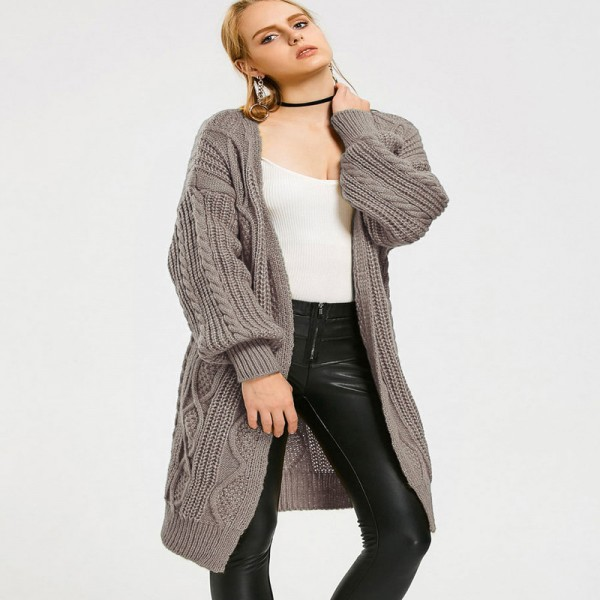 2018 New Spring Autumn Women Knitted Sweaters Solid Color Oversize Cardigan Ela Cable Knit Loose Open Front Cardigan Extra Image 4