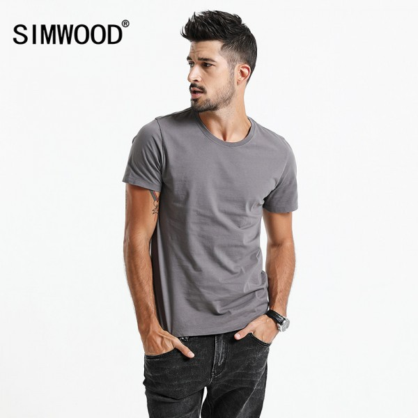 2018 New T Shirt Men Slim Fit Solid Color fitness Casual Tops Pure Cotton Comfortable High Quality Plus Size Tops