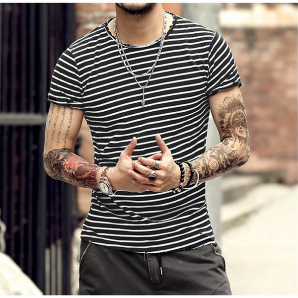 2018 Spring Summer Style Mens Clothing Striped Short Sleeved T Shirts Male Cotton Tops Tees Top Quality Clothing Extra Image 2