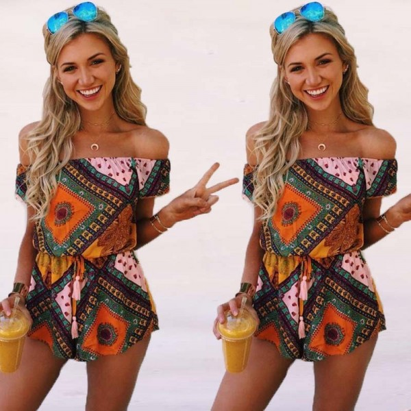 2018 Summer Jumpsuits Rompers For Women Bohemian Loose Fit Geometric Summer Outfits For Ladies Extra Image 2