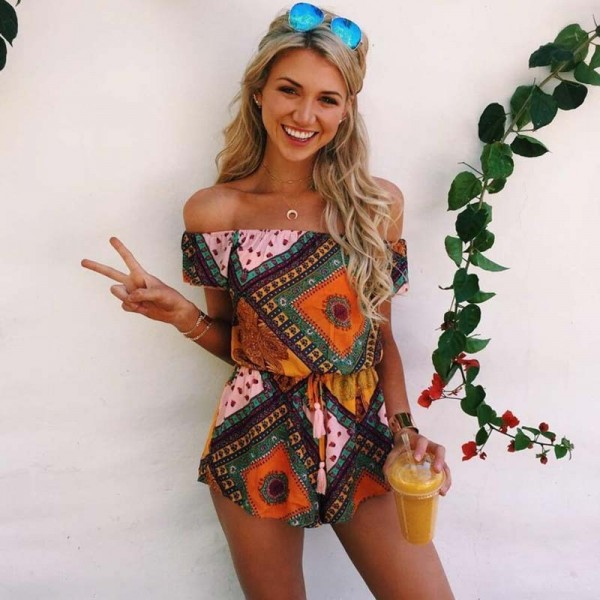 2018 Summer Jumpsuits Rompers For Women Bohemian Loose Fit Geometric Summer Outfits For Ladies Extra Image 3