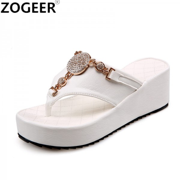 3b443129d663a7 Buy 2018 Summer Luxury Wedges Slippers Women Fashion High Heels Platform  Black White Causal Flip flops Beach Shoes