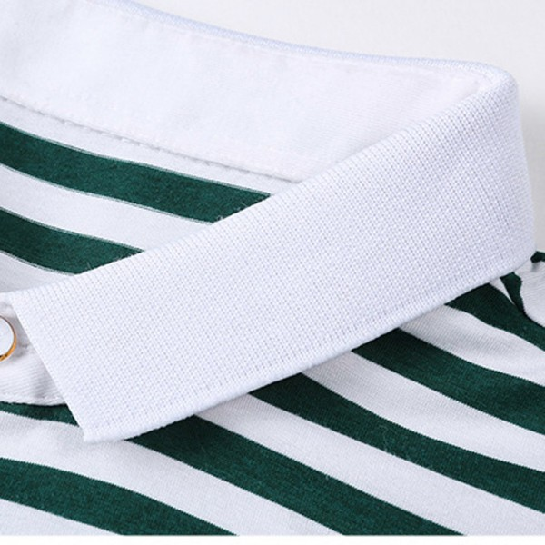 2018 Summer New Fashion Striped Turn Down Collar Tee Shirts Short Sleeve T Shirt Men Genuine Pure Cotton T Shirt Extra Image 2