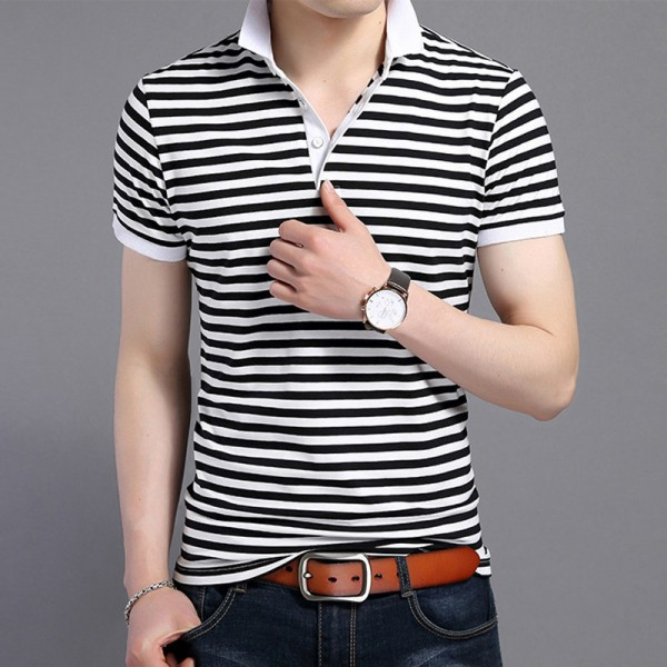 2018 Summer New Fashion Striped Turn Down Collar Tee Shirts Short Sleeve T Shirt Men Genuine Pure Cotton T Shirt Extra Image 4