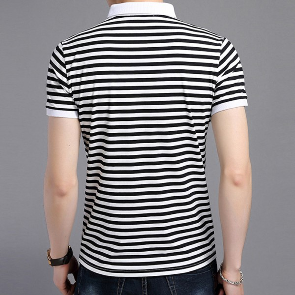 2018 Summer New Fashion Striped Turn Down Collar Tee Shirts Short Sleeve T Shirt Men Genuine Pure Cotton T Shirt Extra Image 5