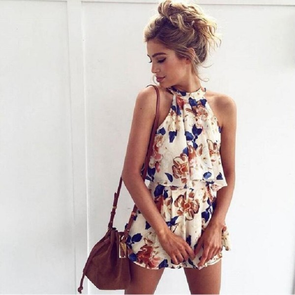 2018 Summer Sleeveless Rompers Mini Dress For Women Beach Outfit Set New Arrival Summer Wear For Ladies Extra Image 3