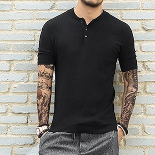 2018 Summer Spring British Style T Shirts Short Sleeve Knitwear Metro Sexual Slim Neck Polo Shirts For Men Extra Image 2