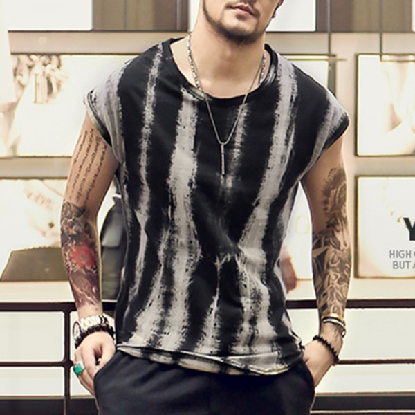 2018 Summer Style Sleeveless T Shirts Foe Men Retro Tie Dye Wide Shoulder Vest Casual Male Under Shirts