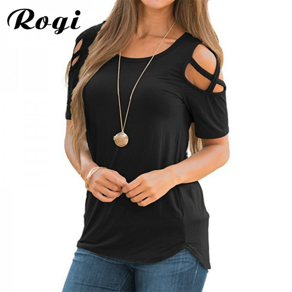 2018 Summer T Shirt Femme Casual O neck Short Sleeve T Shirt Women Sexy Strappy Cold Shoulder Tops Tee Shirt Camiseta Extra Image 1