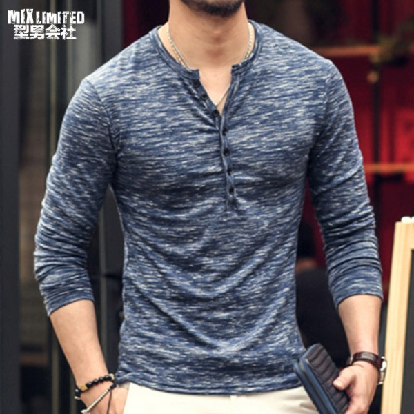 2018 Tee Tops Long Sleeve Stylish Slim Fit T Shirt Button Placket Casual Outwears Popular Design New Men Henley Shirt Extra Image 1