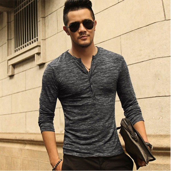 2018 Tee Tops Long Sleeve Stylish Slim Fit T Shirt Button Placket Casual Outwears Popular Design New Men Henley Shirt Extra Image 2