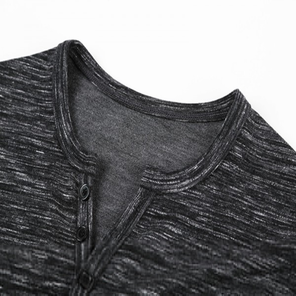 2018 Tee Tops Long Sleeve Stylish Slim Fit T Shirt Button Placket Casual Outwears Popular Design New Men Henley Shirt Extra Image 5