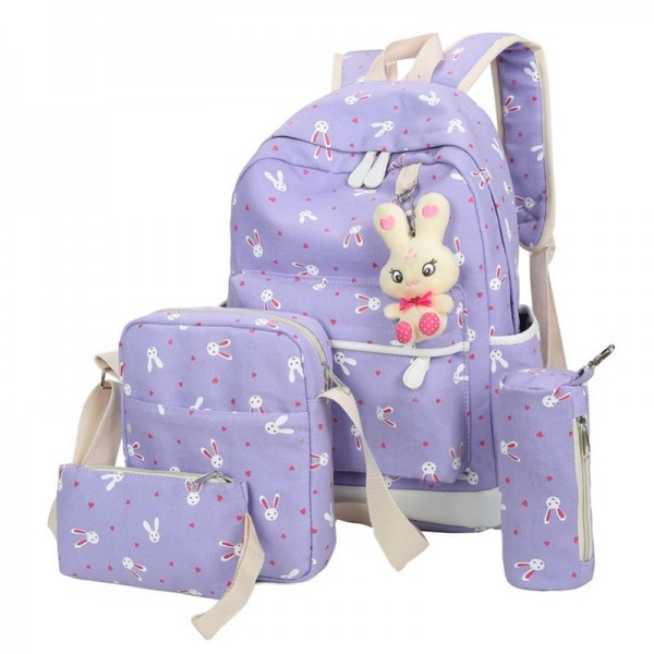 2018 Women Backpacks With Cartoon Rabbit Printing School Preppy Backpacks Canvas School Bags For Teenage Girls Extra Image 4