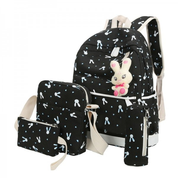 2018 Women Backpacks With Cartoon Rabbit Printing School Preppy Backpacks Canvas School Bags For Teenage Girls