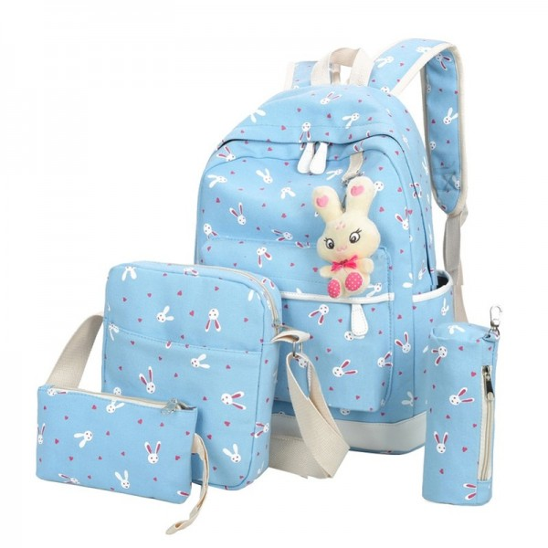 2018 Women Backpacks With Cartoon Rabbit Printing School Preppy Backpacks Canvas School Bags For Teenage Girls Extra Image 6