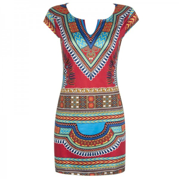 2018 Women Dress Ladies Short V Neck Sexy African Dresses Traditional Print Mini Women Summer Boho Beach Dress Extra Image 2