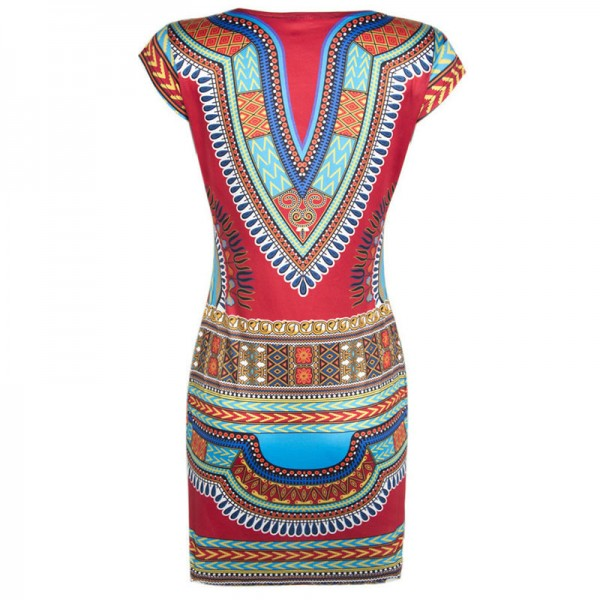2018 Women Dress Ladies Short V Neck Sexy African Dresses Traditional Print Mini Women Summer Boho Beach Dress Extra Image 3