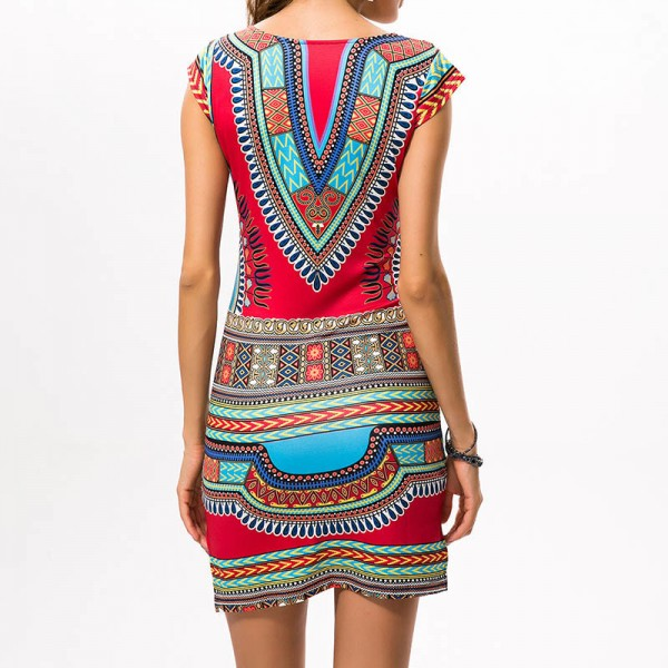 2018 Women Dress Ladies Short V Neck Sexy African Dresses Traditional Print Mini Women Summer Boho Beach Dress Extra Image 6