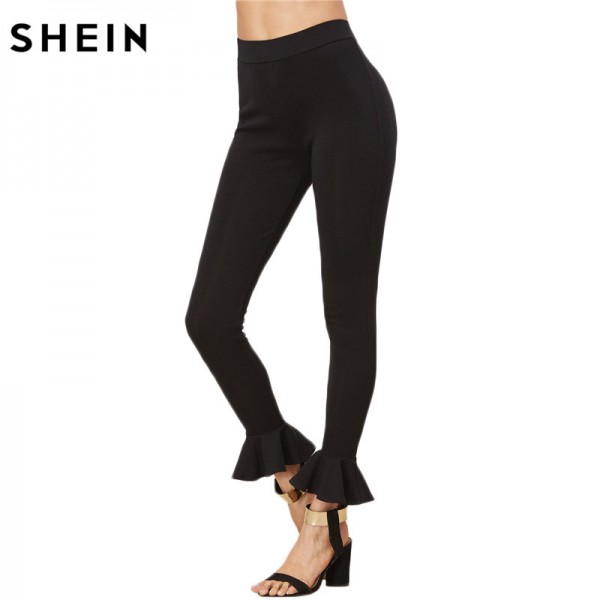 2018 Women Leggings Capris for Women Casual Skinny Legging Womens Clothing Black Ruffle Hem Cute Leggings