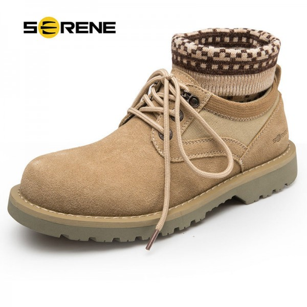 2018 Young Men Handmade Winter Warm Socks Boots Suede Lace Up Fashion Male Shoes Retro Tooling Russian Desert Boots Extra Image 1