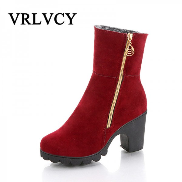 2019 autumn and winter new fashion youth European American warm waterproof platform thick high heel Extra Image 1