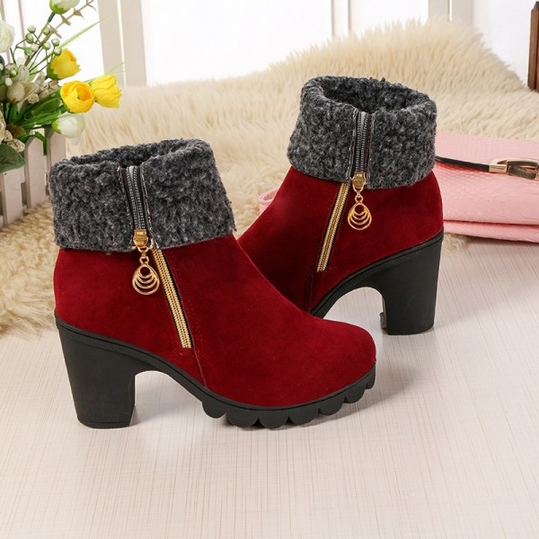 2019 autumn and winter new fashion youth European American warm waterproof platform thick high heel Extra Image 2