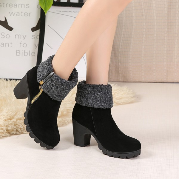 2019 autumn and winter new fashion youth European American warm waterproof platform thick high heel Extra Image 3
