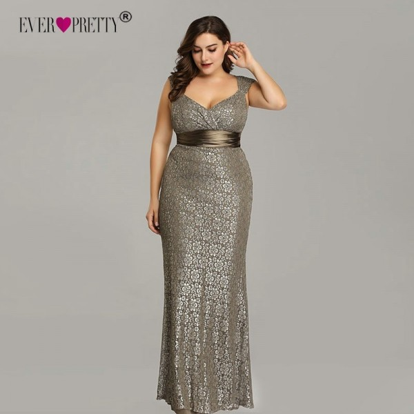 2019 Ever Pretty New Elegant Mermaid V Neck Sleeveless Lace Prom Dresses Plus Size Party Gown Robe De Soiree Extra Image 2