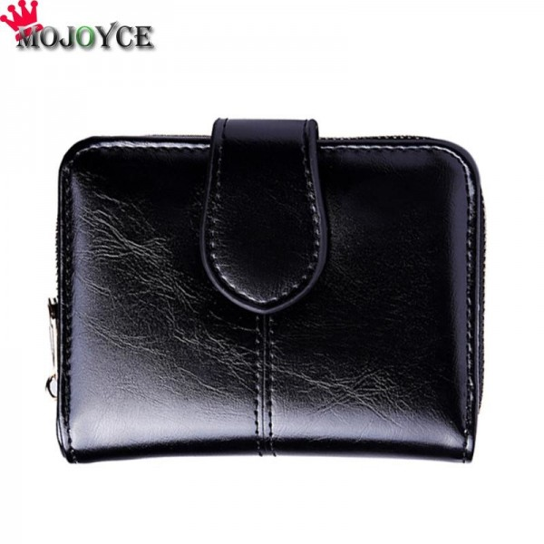 2019 Female Short Wallet Women PU Leather Oil Wax Bifold Coin Purse ID Card Holder Photo Pocket Small Wallet