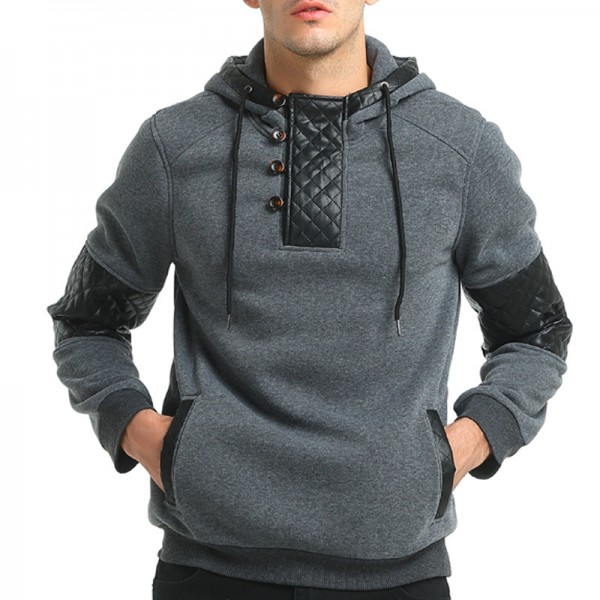 2019 Hoodie Patchwork Leather Hoodies Men Fashion Tracksuit Male Sweatshirt Hoody Mens Multi Purpose Outwear Extra Image 1