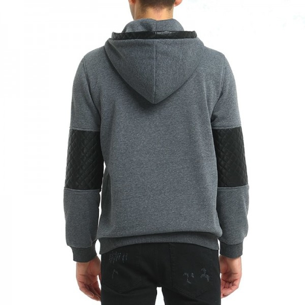 2019 Hoodie Patchwork Leather Hoodies Men Fashion Tracksuit Male Sweatshirt Hoody Mens Multi Purpose Outwear Extra Image 2