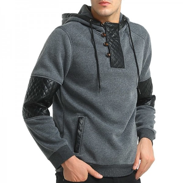2019 Hoodie Patchwork Leather Hoodies Men Fashion Tracksuit Male Sweatshirt Hoody Mens Multi Purpose Outwear Extra Image 5