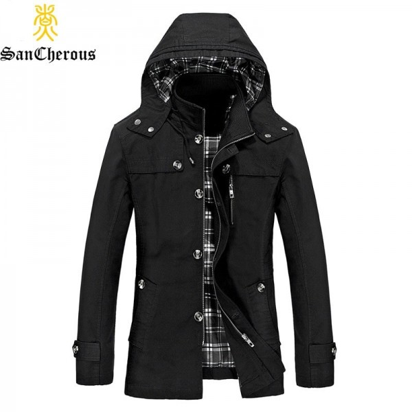2019 New Autumn Spring Winter Cotton Men Casual Outwear Jacket Hooded Detachable Windproof Plus Size Jacket Extra Image 1