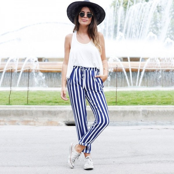 2019 New Fashion Casual Women Pants Pockets Belt Ladies Long Length Trousers High Waist Female Harem Blue Striped Pants