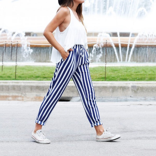 2019 New Fashion Casual Women Pants Pockets Belt Ladies Long Length Trousers High Waist Female Harem Blue Striped Pants Extra Image 3
