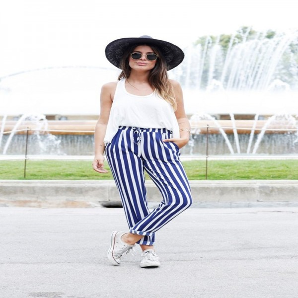 2019 New Fashion Casual Women Pants Pockets Belt Ladies Long Length Trousers High Waist Female Harem Blue Striped Pants Extra Image 5