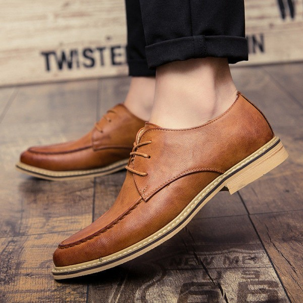 2019 New Luxury Men Dress Shoes Retro Leather Oxford Shoes Lace Up Pointed Toe Business Work Party Wedding Mens Flats Extra Image 3