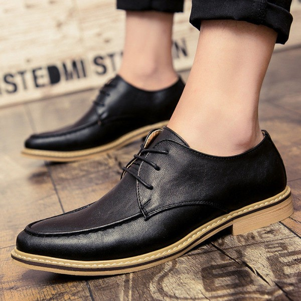2019 New Luxury Men Dress Shoes Retro Leather Oxford Shoes Lace Up Pointed Toe Business Work Party Wedding Mens Flats Extra Image 5