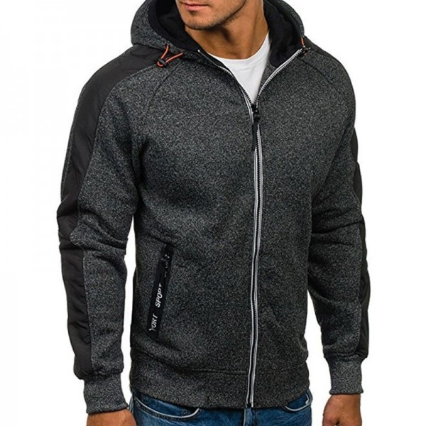 2019 New Men Zipper Hoodies Sweatshirt Male Autumn Hooded Coat Jacket Slim Fit Hoodie Outerwear Sweatshirts M 3XL Extra Image 3