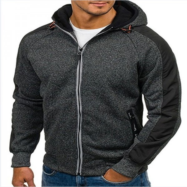 2019 New Men Zipper Hoodies Sweatshirt Male Autumn Hooded Coat Jacket Slim Fit Hoodie Outerwear Sweatshirts M 3XL Extra Image 4
