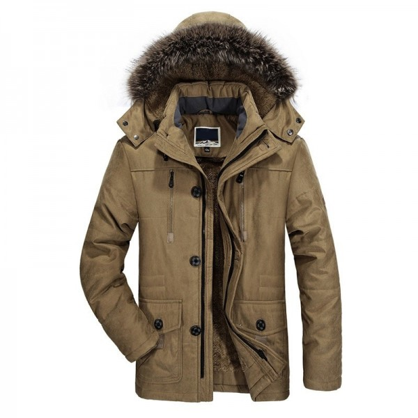 2019 New Mens long Winter Jacket Wool Liner Thick Warm Coat Outerwear Fur Collar Windproof Men Parkas Plus Size