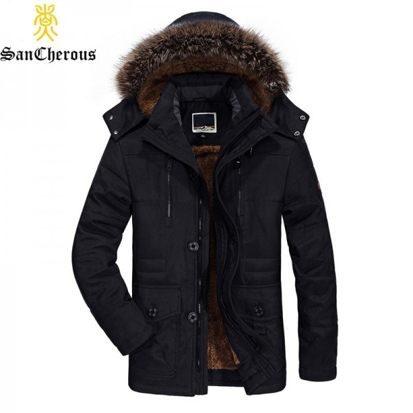2019 New Mens long Winter Jacket Wool Liner Thick Warm Coat Outerwear Fur Collar Windproof Men Parkas Plus Size Extra Image 2