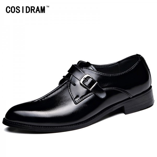 2019 Spring Men Dress Shoes Business Wedding Shoes For Male Pointed Toe PU Leather Classic Oxfords Formal Shoes Extra Image 1