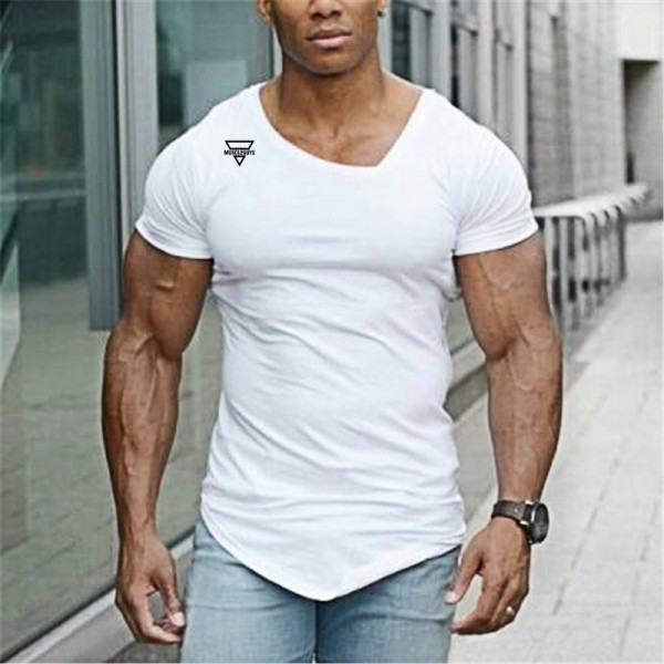 2019 Summer Fashion T Shirt Mens Gyms Clothing V neck Short Sleeve Slim Fit T Shirt Fitness Men compression Tshirt Extra Image 4