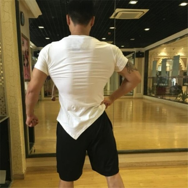 2019 Summer Fashion T Shirt Mens Gyms Clothing V neck Short Sleeve Slim Fit T Shirt Fitness Men compression Tshirt Extra Image 5